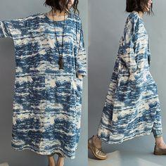 Buykud - Women Blue batik long section loose stitching sleeve cotton casual dress
