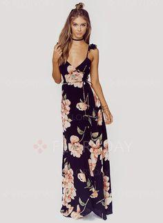 Vestidos de - $40.31 - Poliéster Floral Sem magas Longo Sexy Vestidos…