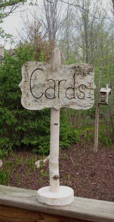 Birch Bark Wood Card Sign Wedding Cottage Chic by BirchHouseMarket, $24.99