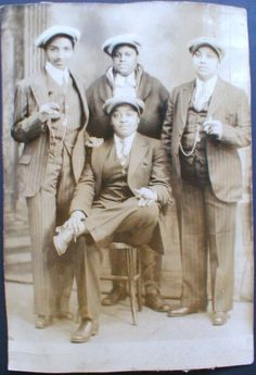 4 BLACK GIRLS MEN CROSS DRESSED GAY THEME PIN STRIPE SUITS RPPC 1930 CHICAGO IL |