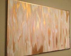 Acrylic Abstract Art Large Canvas Painting White by AyaShanshalArt