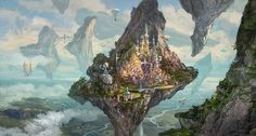 Contract Artwork by Matt Gaser Fantasy Art Landscapes, Fantasy Landscape, Environment Concept Art, Environment Design, Fantasy Places, Fantasy World, Futuristic City, Fantasy Illustration, Fantasy Inspiration