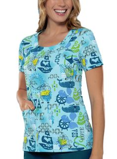Get this SpongeBob scrub top from Tooniforms and don a nice nautical inspired top. The Sea Of Love print of this top is both inspiring and refreshing. It perfectly complements the U-shaped neckline of this top. Further featured are back darts, short sleeves and side vents.