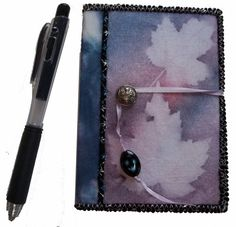 Mini Journal- Lavender Maple Leaves Sunprinted Cover by Sue Andrus