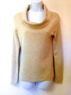 New Ann Taylor Beige Cowl Neck 100 Merino Wool Pullover Knit Sweater S