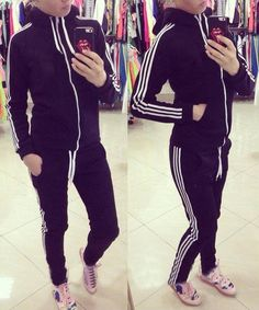 Active Hooded Long Sleeve Striped Jacket + Waist Drawstring Pants Activewear Suit For Women