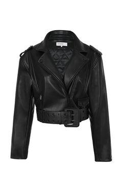 80ed70c5 Clothing : Jackets : 'Marin' Black Vegan Leather Cropped Belted Jacket