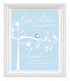 Christening Gift -Baptism Gift -Baby Boy Personalized Print -Bird Name Wall Art for Nursery-other colors available. $15.00, via Etsy.
