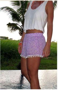 Boho Shorts – Lavender & White Floral Blend