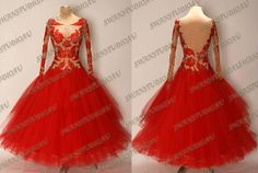 Love the neckline. NEW READY TO WEAR RED STIFF NET BALLROOM DANCE COMPETITION DRESS SIZE:6