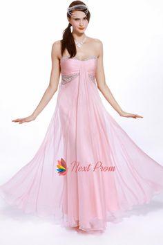 Pink Empire Waist Prom Dress, Chiffon Sweetheart Strapless Prom Dress, Long Beaded Chiffon Prom Dress, Long Pink Strapless Prom Dress