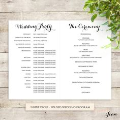 Byron Printable Wedding Order of Service Template                              …