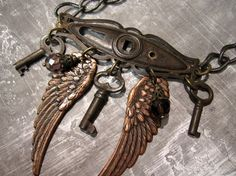 steampunk jewelry - skeleton key wing necklace - ooak