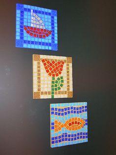 boat, flower, fish on a square Mosaic Pots, Mosaic Garden, Mosaic Glass, Mosaic Tiles, Gaudi Mosaic, Stained Glass, Glass Art, Tiling, Opus Vermiculatum