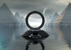 """Stargate Digital Art 'City Of Pyramids' by Joseph Soiza. """"This picture was done by me on my computer using several different 3D programs, including Poser, Bryce, Ulead 3D Pro, and 3DS Max."""""""