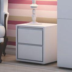 Criado Mudo Branco 100% MDF com Rodinhas Room Decor, Decor, Interior Design, Living Room Decor, Furniture, Interior, Bedside Table, Bed Table, My Room