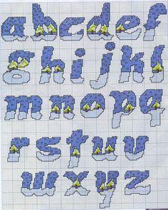 alfabeto con alberi innevati neve lettere