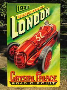 The 1939 London Grand Prix, scheduled for 7 October, and the Brooklands Autumn Meeting, scheduled for 14 October were never held. Britain declared war on Germany on 3 September leading to the suspension of all racing until the end of Art Deco Posters, Car Posters, Vintage Posters, Poster Poster, Travel Posters, Grand Prix, Classic Motors, Classic Cars, Jeep Carros