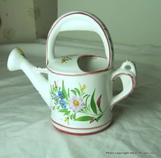 Featured item of the day. Use #PromoCode FLOW10502013 for 10% off a minimum purchase of $50. And if you make ANY purchase from my shop, you will receive a secret promo code good for 20% off a minimum purchase of $100! Vintage Hand-Painted Ceramic Watering Can, Made in Portugal