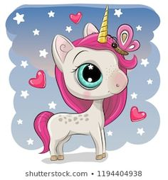 Cute Unicorn with butterfly on a stars background. Cute Cartoon Unicorn with butterfly on a stars background vector illustration Cartoon Cartoon, Kids Cartoon Characters, Cute Cartoon Girl, Cartoon Unicorn, Cute Cartoon Animals, Cute Animals, Unicorn Horse, Unicorn Art, Cute Unicorn