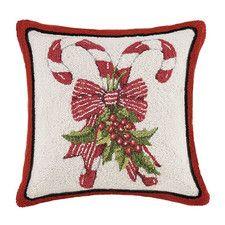 Candy Cane Hook Wool Throw Pillow