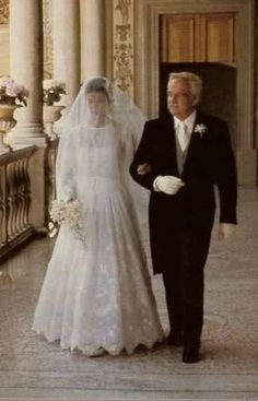 Princess Caroline of Monaco with her father, Prince Rainier, at her marriage to her first husband, Philippe Junot. He was 17 years her senior, and her parents were against the marriage. It lasted only two years.