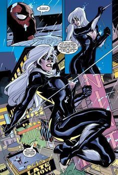 Terry Dodson's Black Cat swinging into action from Spider-Man/Black Cat: The Evil That Men Do