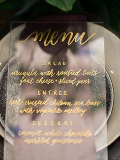 FESTIVAL BRIDES | Sheer Delight Acrylic Wedding Decor Details and Inspiration - perspex wedding menu place setting