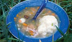 Mr Todd Kaanta can attest to the awesomeness (& ease!) of this Chicken & Dumplings recipe after a day of backpacking!!! Served with spring rolls... DAMN good!