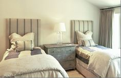 chest, duvets, tall upholstered headboards