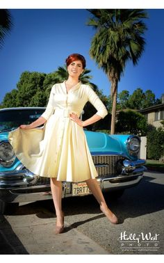 Pinup Girl Clothing- Haute Monte Carlo Dress in Ivory Sateen | Pinup Girl Clothing