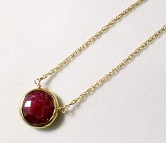 Red Ruby Necklace Gold Bezel Necklace Genuine Ruby Necklace July Birthstone Precious Ruby Jewelry Gemstone Necklace BZ-P-105-Ruby/g