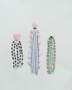 Embroidered watercolour