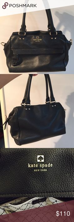 "Kate Spade Grant Park Handlen Black Price reflects condition. Authentic Kate Spade STYLE #WKRU2599 COLOR black. Used condition with signs of wear on both the exterior and interior. exterior there are a couple of light marks that you can't see unless you look closely. DOES NOT COME WITH SHOULDER STRAP. Flaws are in the last picture - leather isn't super stiff anymore but still looks good. 8.07""h x 10.0""w x 2.8""ddrop length. faux quilting on poly twill lining gold hardware top handle bag with…"
