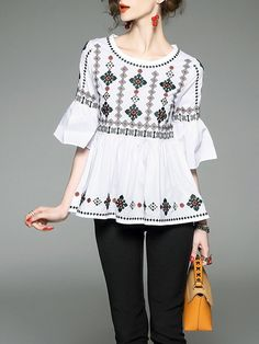 Shop Blouses - White Embroidered A-line Tribal Frill Sleeve Blouse online. Discover unique designers fashion at StyleWe.com.
