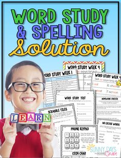 Word Study and Spelling Solution! - Everything you need for a comprehensive spelling and word study program Teacher directions, student handouts, homework, and more! 2nd Grade Spelling, Spelling Homework, 2nd Grade Ela, Spelling Words, Second Grade, Spelling Ideas, Spelling Lists, Word Study, Word Work