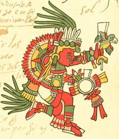 Tonatiuh (pronounced Toh-nah-tee-uh) was the sun god. He was a nourishing god who provided warmth and fertility. In order to do so, he needed sacrificial blood. Tonatiuh was also the patron of warriors. For Aztec mythology, Tonatiuh governed the era under which the Aztec believed to live, the era of the Fifth Sun.