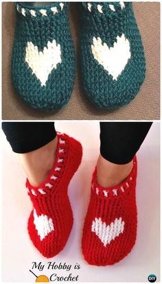 Crochet Heart & Sole Slippers Free Pattern - Crochet Women Slippers Free Patterns