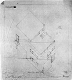 Axonometric drawing of the house in Meudon - Theo van Doesburg