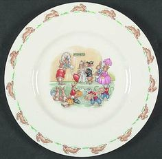 "Salad Plate in the Bunnykins (albion Shape) pattern by Royal Doulton China ""Ticket Queue"""