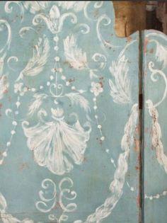 French artist Aurelie Alvarez. Close-up of screen she hand-painted.