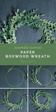 Paper Boxwood Wreath Assembly Tutorial - Furrow and Feather Paper Flower Wreaths, Paper Flowers Diy, Felt Flowers, Flower Crafts, Diy Paper, Paper Art, Boxwood Wreath, Diy Wreath, Mesh Wreaths