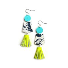 Black and White Marbled Leather Earrings with Neon Yellow Tassels - Boo and Boo Factory - Handmade Leather Jewelry
