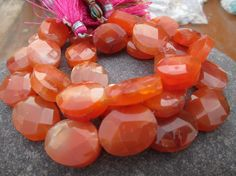 """8"""" Full strand, Carnelian Faceted Oval Gemstone Beads, 100% Natural, Fine AAA Quality, At Factory Price, (ITEM ID:- E-2629) by JaiVyavsayBeads on Etsy"""