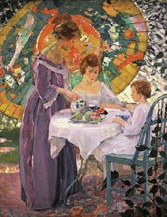 'Under the Parasol' by German-born American artist Karl Albert Buehr (1866-1952). via It's About Time: A few summer Parasols