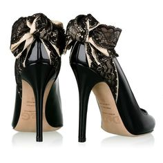 D Dolce and Gabbana Black Lace Bow Peep Toe Pumps