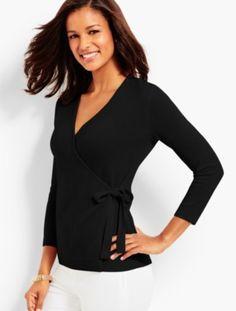 Cashmere Faux-Wrap Sweater   Talbots