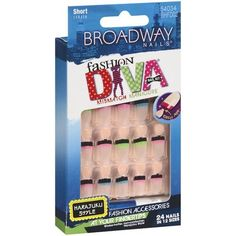 Broadway Fashion Diva Nails Nail Kit Mismatch Manicure # 54035 BHFD03 by Kiss. $1.99. Comes with pink gel glue 2 g and manicure stick.. Mismatch manicure!. Glue on nails.. 24 nails in 12 sizes.. Short length.. Hard to find item!. Save 67%!