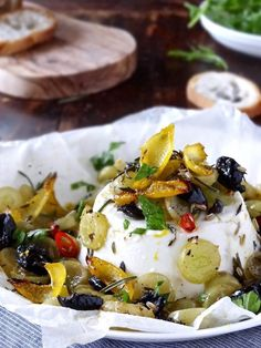 Baked ricotta with grapes & olives