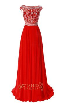 Delicated Beaded Bodice Red Chiffon Long Prom Dresses Am204